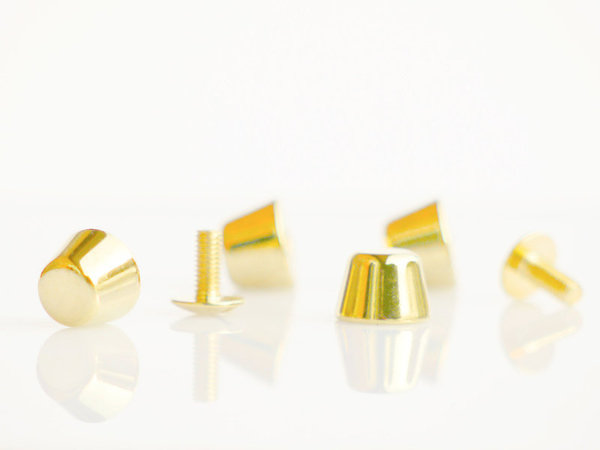 Bodengleiter, massiv, 10 mm, gold poliert